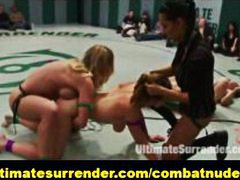 group, public, blond, strapon, wrestling, femalecombat, domination, submission, group sex