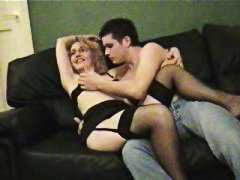 Magnificent blonde mummy deepthroating and screwing a youthfull fellow as her hubby films it