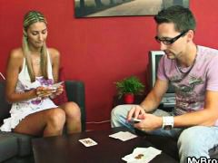 She loses at disrobe poker and gets screwed by her boyfriend's bro