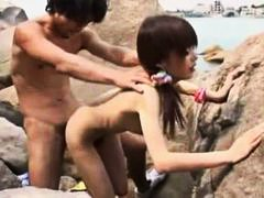 hairy, skinny, slut, beach, outdoor, fucked, japanese, sucking, doggystyle, blowjob, small tits