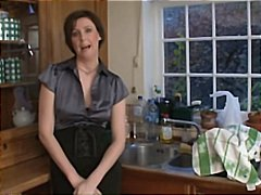 Brunette mom laura has a splendid interlude with her youthful neighbor in the kitchen