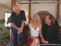 Blonde wifey gets screwed well while spouse and others witness