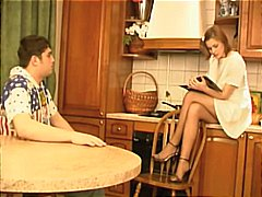 Brother and sister get busy in the kitchen and use their soles