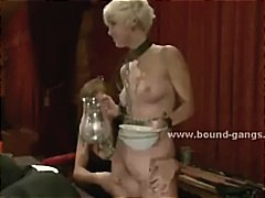 Blonde thin punk caught after training and strapped before getting