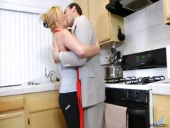 Blonde housewife deep-throats his manmeat and then rails it in kitchen
