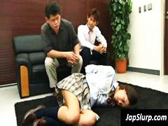 Bashful youthful asian schoolgirl is corded up and gangbanged coerced to guzzle shafts