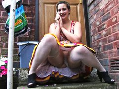 Chubby woman upskirt (with knickers on)
