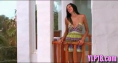 Torrid brunette teenage deepthroat and pummels on hotel balcony