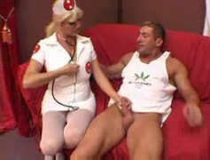Nurse helps the muscled guy get laid