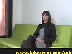 Huge-chested brunette waits on the audition couch before she gets torn up