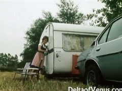 Retro porn 1970s  fur covered brunette teenage  camper coupling