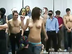 Big-chested lady at czech gang tear up party