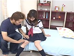 Japanese schoolgirl hina kawai gets her fuckbox played with before she deepthroats