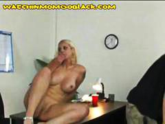 Busy blonde mom gets ebony boner penetrated and a facial while stud observes
