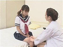 Youthfull japanese gal gets seduced by the nurse and they make out