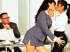 Pornstars kaylani & tori ebony - steaming lesbians in office way