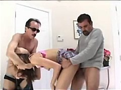 The youthful gorgeous nanny gets double teamed by old boys