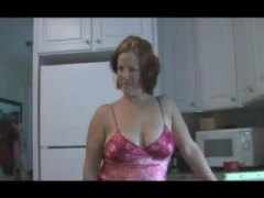 Housewife in satin knickers kitchen ravage