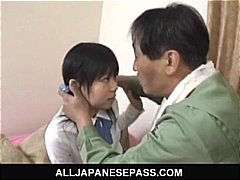 Minami asaka adorable asian schoolgirl plays with her hefty vegetables