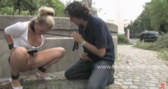 Steffi gets plowed in a park while studs witness