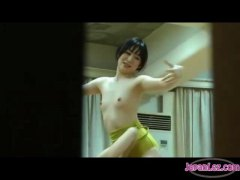 Asian balerina getting her little hooters massaged labia frigged at the training in the gym