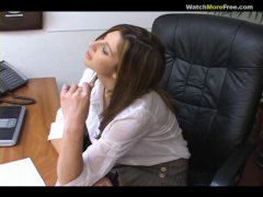 Office strain leads to pov suck job with warm brunette