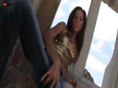 Eroberlin anita jewel outdoor public teenage denim getting off
