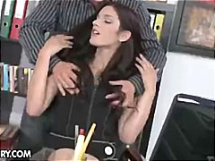 Brunette secretary mira takes off and gets plumbed by the boss