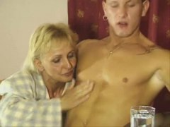 Mature blonde plowed on her dining room table