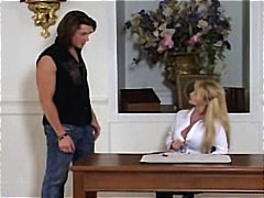 Blonde stunner jean val jean gobbles his man rod and then gets a pound rail