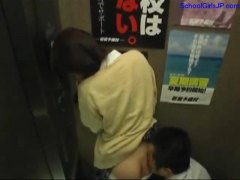 Schoolgirl frigged throating business dude getting her throat banged in the elevator