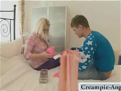 Spouse brings home spectacular pinkish knickers and gloves and pummels his wifey in them