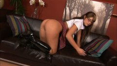 Wild brunette with glasses double penetration