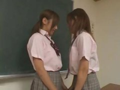 insane asian school women kissing and pawing their bra-stuffers in class