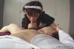 Insane japanese maid wakes boy up with a muddy bj!