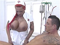 Huge-boobed german redhead nurse gives her patient head and jacks