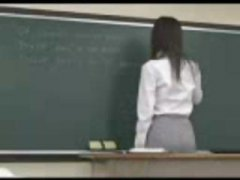 Japanese teacher gets plumbed from behind by one of her students