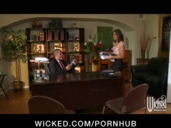 Youthfull all-natural-melon brunette secretary pummels her boss in the office