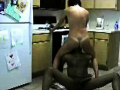 Housewife cheating with ebony rod