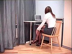 Secretary hook-up in sheer crotchless stockings