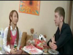 Youthfull redheaded asian girl gargles and pokes a enormous rock hard prick