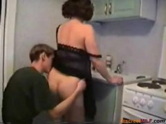 Housewife penetrated in her kitchen