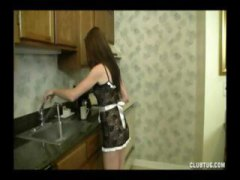 Brunette teenage gives this stud a cute pov hand job in the kitchen