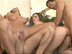 Orgy with a lot of buxomy stunners gobbling manstick and vagina and screwing