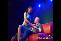 Stripper does oral job on stage