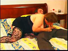Ample mom deepthroats youthfull man rod in bedroom