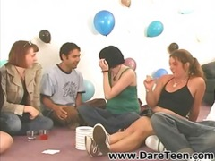 Four gals have joy playing truth or dare with wild men