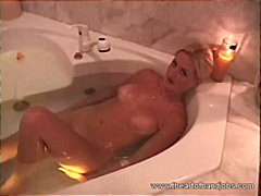 Crazy honey swimming while playing a gigantic firm dick