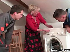 repairmen fuck huge-chested grandma from both ends
