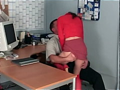Office hook-up with a small secretary fuckin' in sheer crimson tights